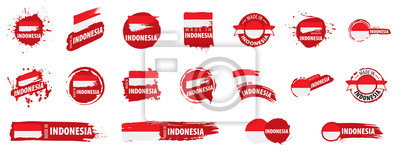 Sticker Indonesia flag, vector illustration on a white background