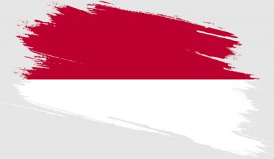 Sticker Indonesia flag with grunge texture