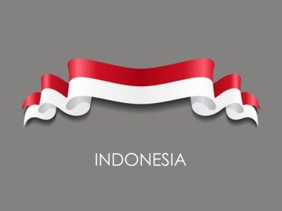 Sticker Indonesian flag wavy ribbon background. Vector illustration.