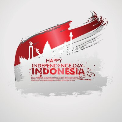Sticker Indonesian Independence day celebration banner set. 17th of August felicitation greeting vector illustration. modern backgrounds with grunge style indonesian flag and silhouette icon city of indonesia