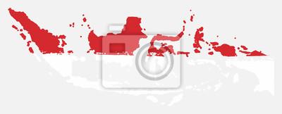 Sticker Indonésie drapeau & carte vecteur peint à la main avec brosse arrondie