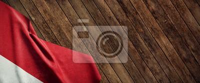 Sticker Indonésie, drapeau en tissu sur bois