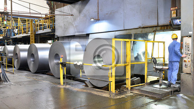 Sticker industrial plant for the production of sheet metal in a steel mill