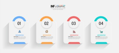 Sticker Infographics design template, business concept with 4 steps or options, can be used for workflow layout, diagram, annual report, web design.Creative banner, label vector.