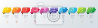 Sticker Infographie conception vecteur et icônes d'affaires avec 10 options.