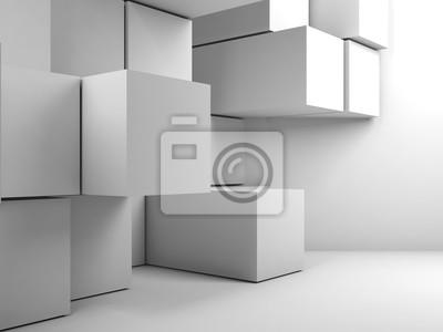 Installation de cubes dans une pièce vide. Rendu 3d