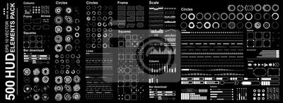 Sticker Interface utilisateur graphique tactile virtuelle futuriste, Mega set Éléments Hud futuristes