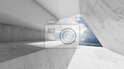 Intérieur de béton blanc vide avec ciel nuageux