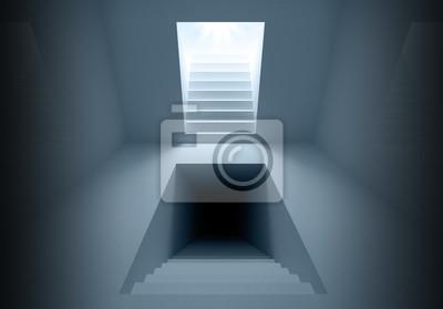 Intérieur de l'architecture abstraite avec des portails d'éclairage d'escalier