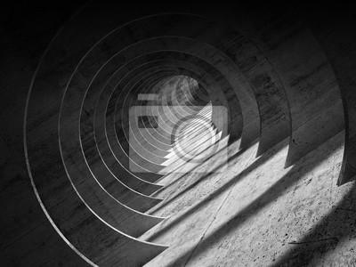 Intérieur de tunnel de béton sombre abstrait avec perspective