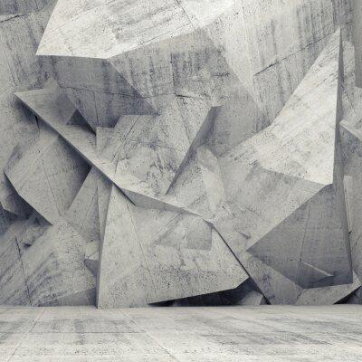 Intérieur gris béton 3d vide avec mur polygonal chaotique