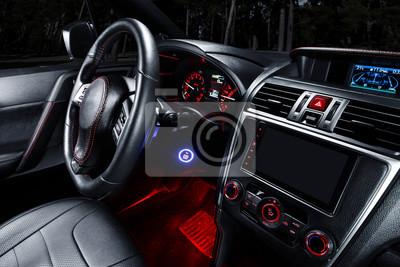 Intérieur moderne de la voiture premium avec sièges en cuir stickers ...