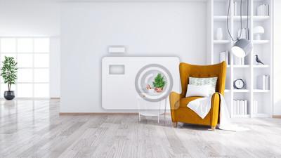 Sticker Intérieur moderne et minimaliste du salon, fauteuil jaune avec table blanche sur mur blanc et plancher en bois, rendu 3d