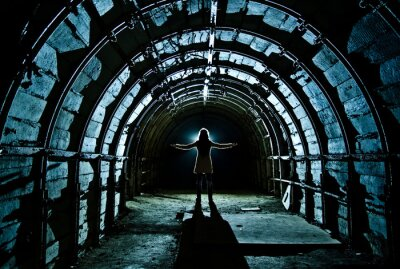 Sticker Intérieur, tunnel, abandonné, charbon, mine
