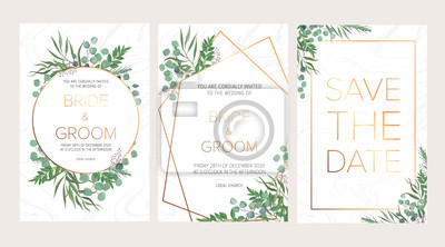 Sticker Invitation florale de mariage, merci carte moderne: romarin, branches d'eucalyptus sur la texture de marbre blanc avec un motif géométrique doré. Modèle rustique élégant. Tous les éléments sont isolés