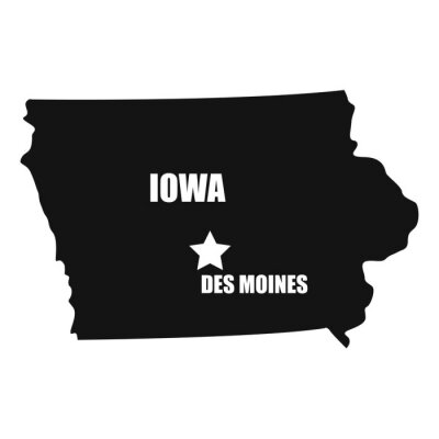 Iowa map in black on a white background