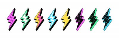 Sticker Isolated Lightning bolt signs. 5st set of flash thunderbolts with texture for zine retro culture