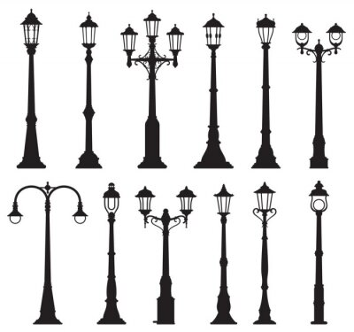 Sticker Isolated streetlight lamps, vintage lamppost or streetlamp and lanterns, vector silhouette icons. Old street light pillars, retro lantern poles or city illumination lampposts with gas or light bulbs