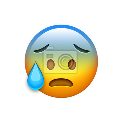 ea34e2f947cdf9 Sticker Isolé emoji jaune maux de tête spooky visage avec larme icône