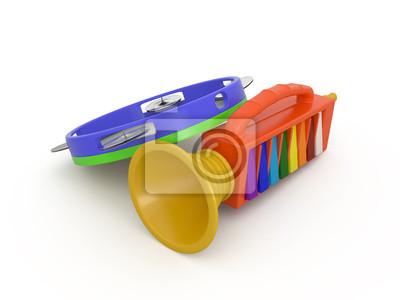 Isolé fifre et du tambourin, 3D