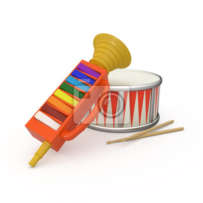 Isolé fifre, tambour et deux baguettes 3D