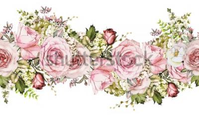 Sticker isolé frontière sans couture avec fleurs roses, feuilles. motif floral aquarelle vintage avec feuille et rose. Couleur pastel. Bordure florale sans couture, bande pour cartes, mariage ou tissu.