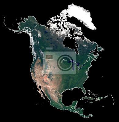 Isolé sur la carte de silhouette de fond noir du continent de l'Amérique du Nord. Photo satellite de l'Amérique du Nord (États-Unis, Canada, Mexique) avec les frontières du pays. La Terre depuis l'esp