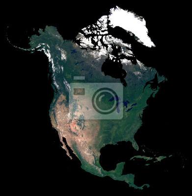 Isolé sur la carte de silhouette de fond noir du continent de l'Amérique du Nord. Photo satellite de l'Amérique du Nord (États-Unis, Canada, pays du Mexique). La Terre depuis l'espace.