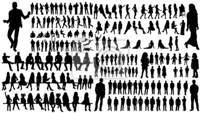 Sticker isolé, une collection de silhouettes de personnes hommes et femmes