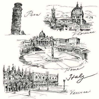 Sticker Italie - main collection dessinée