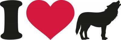 Sticker J'aime la silhouette de loup