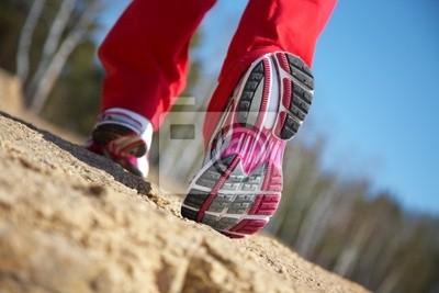 jambes d'une fille en baskets
