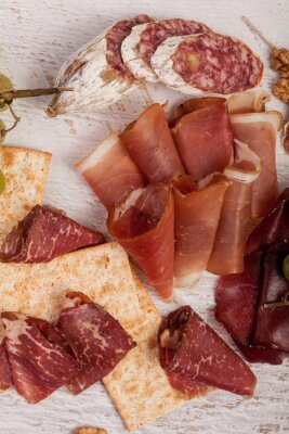 Sticker Jambon, noix, craquelins, raisin, blanc, bois, fond