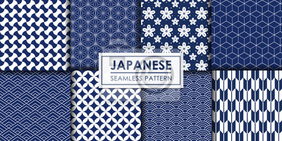 Sticker Japanese seamless pattern collection, Decorative wallpaper.