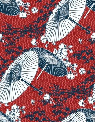 Sticker japanese traditional vector illustration sakura umbrella pattern red