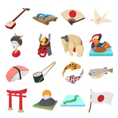Sticker Japon, icônes, ensemble