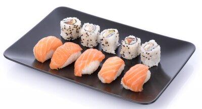 Sticker Japonaise, sushi, ensemble, noir, plaque