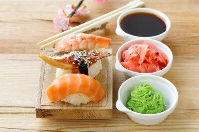 Sticker Japonaise, traditionnel, nourriture, sushi, saumon, thon, crevette