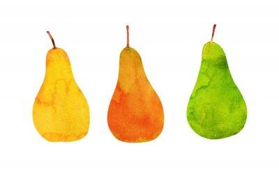 Sticker jaune, orange, poires vertes isolées