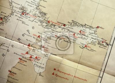 Jaune russe de navigation fragment de carte antique avec des étiquettes rouges
