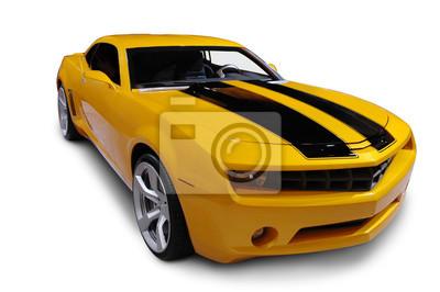 Sticker Jaune voiture de sport américaine