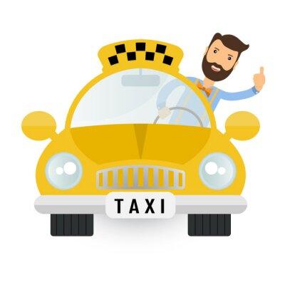 Sticker jaune voiture de taxi - vecteur icône