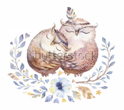Sticker Je t'aime. Belle illustration aquarelle avec des chouettes douces, des coeurs et des fleurs aux couleurs impressionnantes. Superbe carte romantique de la Saint-Valentin faite en technique d'aq