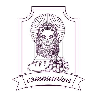 Jésus Pain Et Raisin Première Communion Main Dessin Illustration