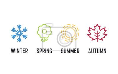 Sticker Jeu d'icônes des quatre saisons. 4 illustrations d'éléments graphiques vectoriels représentant l'hiver, le printemps, l'été et l'automne. Flocon de neige, fleur, soleil et feuille d'érable