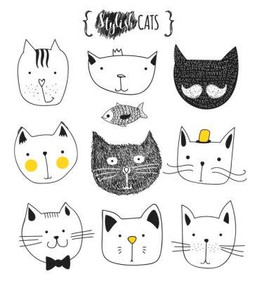 Sticker Jeu de chats mignons doodle. Croquis cat. Croquis du chat. Chat fait à la main. T-shirts imprimés pour le chat. Impression pour vêtements. Enfants Doodle animaux. Chats musclés à la bouche. Isolé de c