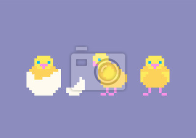 Sticker Jeu De Poulet De Dessin Animé Mignon Pixel Art