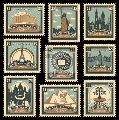 Sticker Jeu de timbres-poste sur le thème de voyage de différents pays avec des monuments historiques historiques architecturaux vectorielles