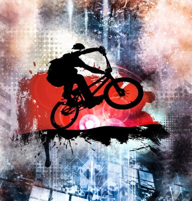 Sticker Jeune cavalier de vélo masculin. Mode de vie sain