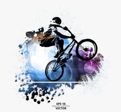 Sticker Jeune cavalier de vélo masculin. Mode de vie sain. Vecteur